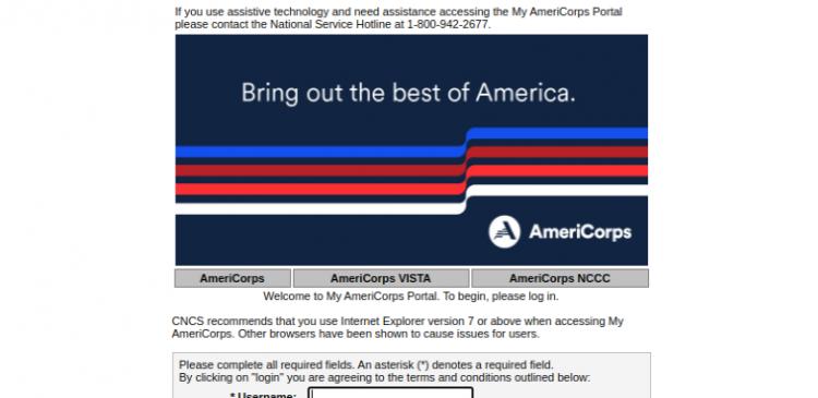 My AmeriCorps Login