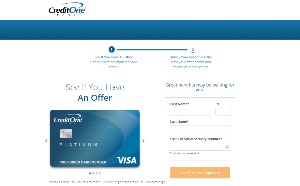credit one bank card apply
