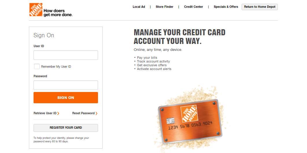 home depot card login