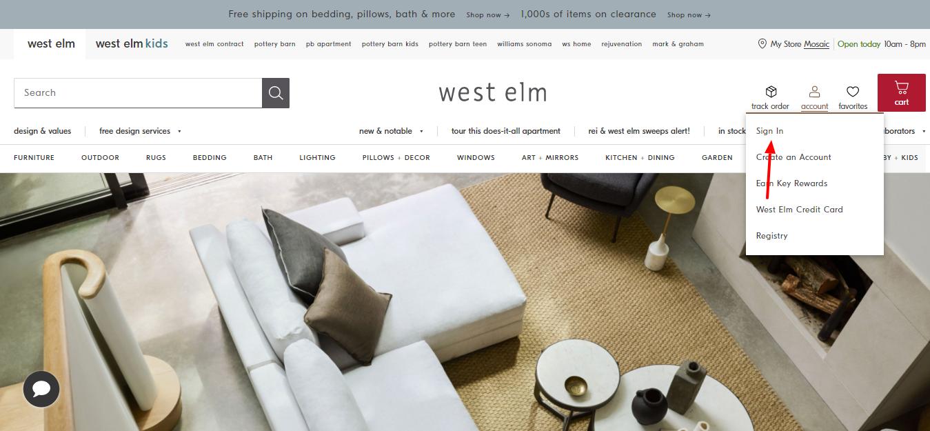west elm login