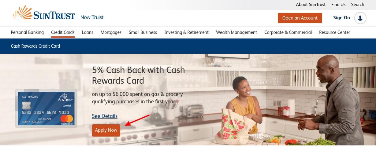 suntrust rewards credit card apply